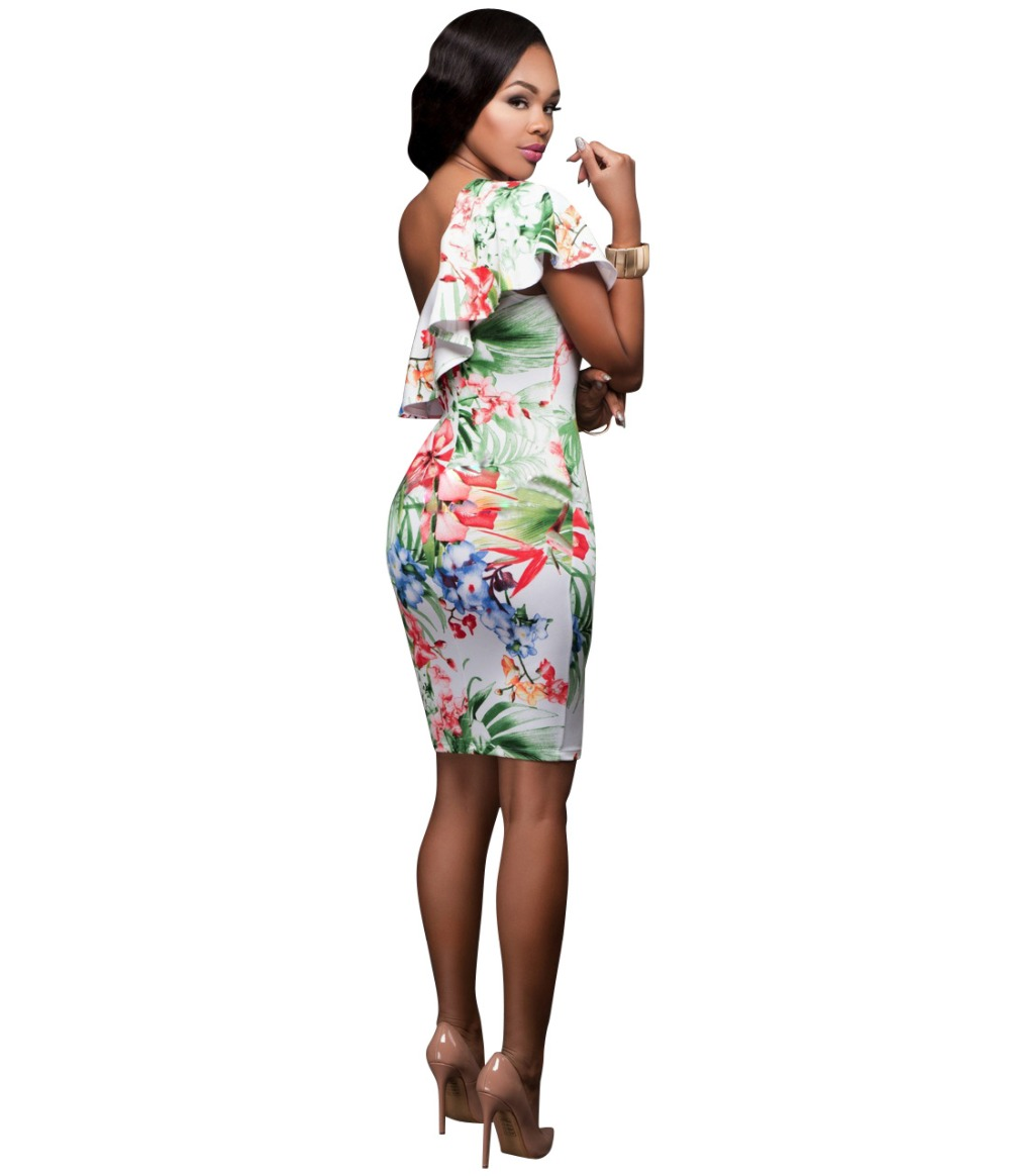 Adogirl Vestidos Mujer Summer Ruffles One Shoulder Bodycon Dress
