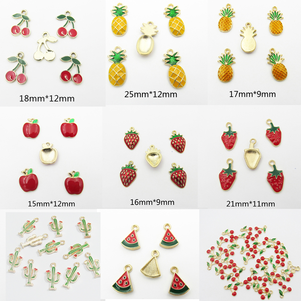 ( Choose Design First ) 30pcs/bag Full Enamel Small Strawberry,Apple/Pineapple/Cherry/Watermelon/ Fruit Small Charm Pendants