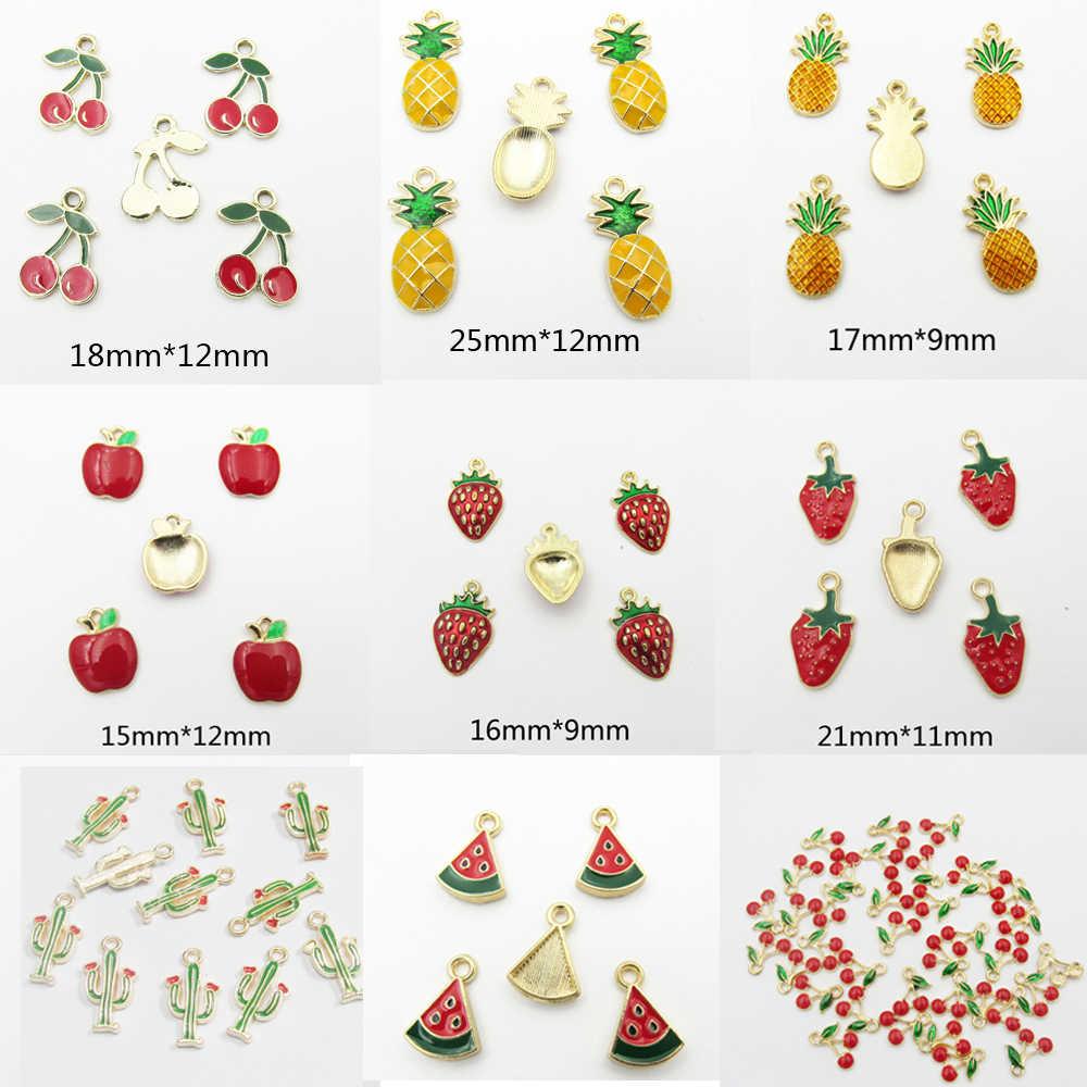 (اختر التصميم أولا) 30 قطعة/الحقيبة كامل المينا الفراولة الصغيرة ، التفاح/الصنوبر التفاح/الكرز/البطيخ/الفاكهة المعلقات الصغيرة