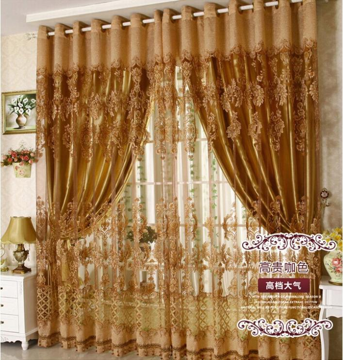 Free Shipping Luxury Fancy Design Sheer Curtain Panel With Blackout Shade Curtains Blind For Living Room