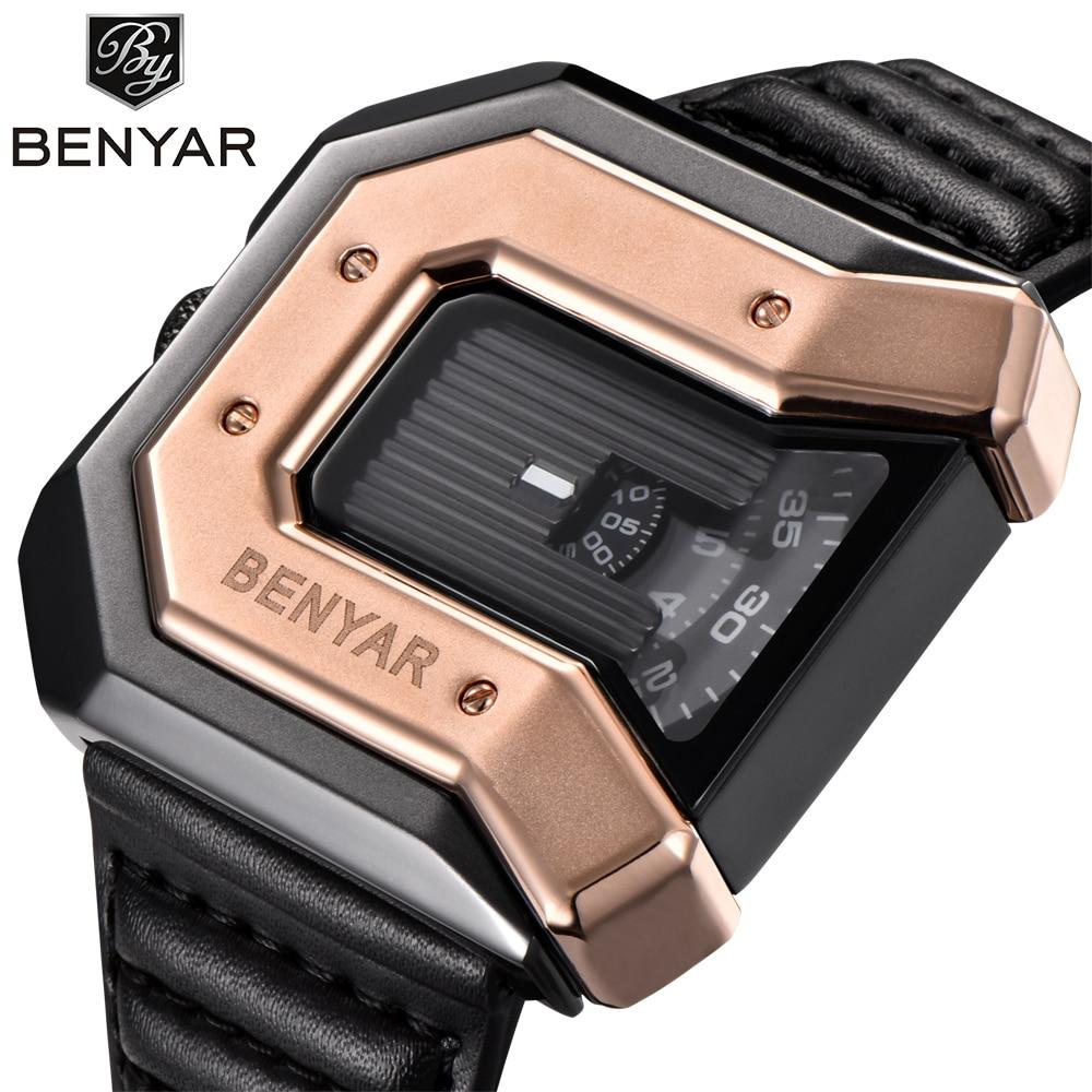 BENYAR New Top Luxury Brand Unique Design Leather Strap Fashion Waterproof Quartz Watch Clock Male Sports Wrist Watch Gold white