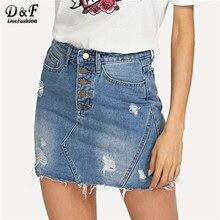 10c312bf8a32 Dotfashion Blue Frayed Edge Button Up Bleach Wash Ripped Denim Skirt Women  Casual 2019 Summer Korean Sheath Mini Skirt