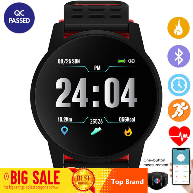 Top Das Mulheres Dos Homens de Esportes Relógio Inteligente Pressão Arterial Monitor de Freqüência Cardíaca de Fitness Rastreador Smartwatch GPS Sport Watch para Android Ios