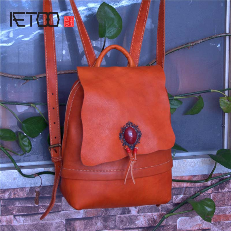 AETOO Art Fan leather retro tree cream leather handmade bag vegetable tanned leather aetoo spring and summer new leather handmade handmade first layer of planted tanned leather retro bag backpack bag