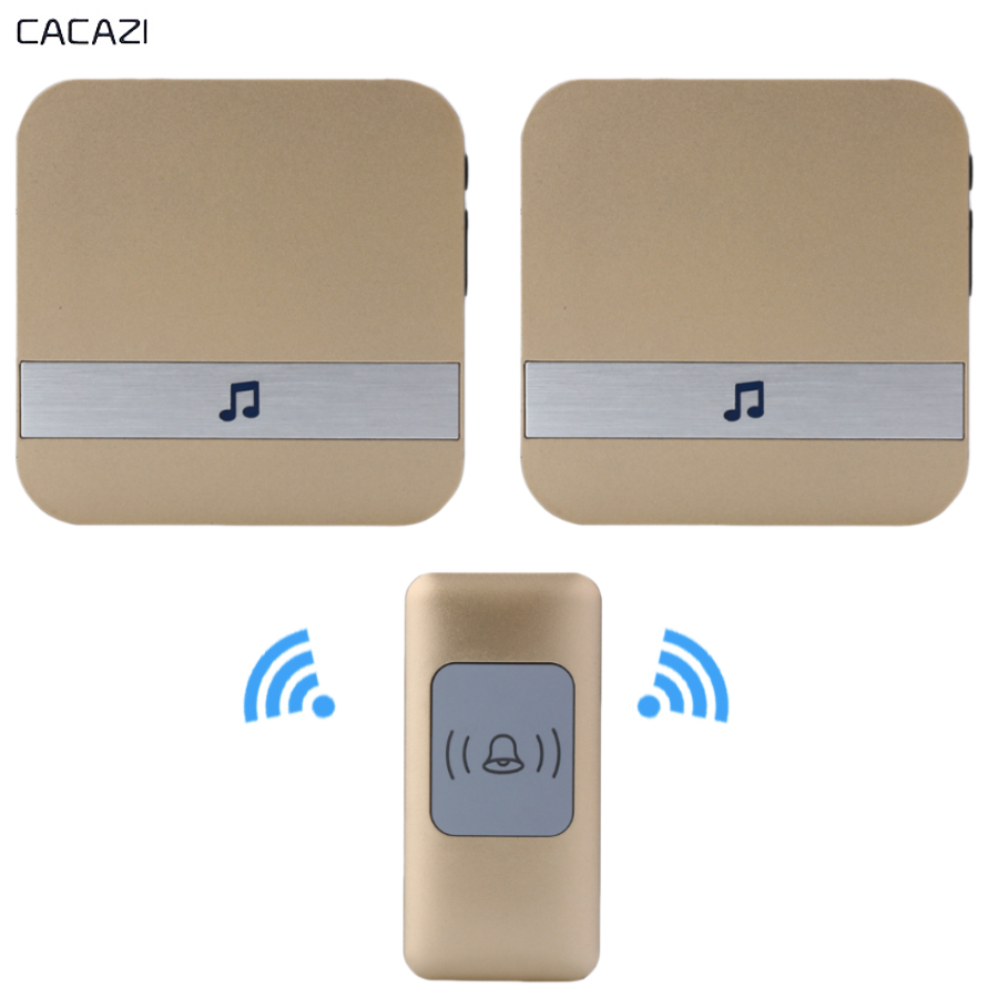 CACAZI Wireless doorbell Waterproof 300M Remote smart Door bell ring EU US AU Plug buzzer AC 110V-220v gold 1 Button 2 receiver 2 receivers 60 buzzers wireless restaurant buzzer caller table call calling button waiter pager system