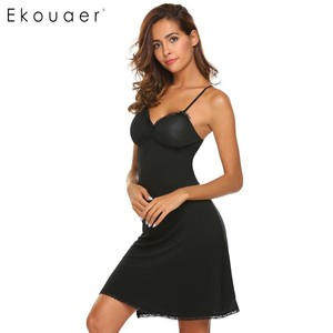 Image 4 - Ekouaer Lace Trim Nightwear Women Sexy Sleepwear Spaghetti Strap Padded Nightgown Lace Trim Babydoll Chemise Chest Pad Sleepwear