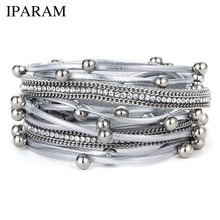 IPARAM High Quality New Beads Multi-Lady Ms. Charm Bracelet Men's Leather Bracelets & Bracelets New Ms. Party Jewelry Gifts(China)