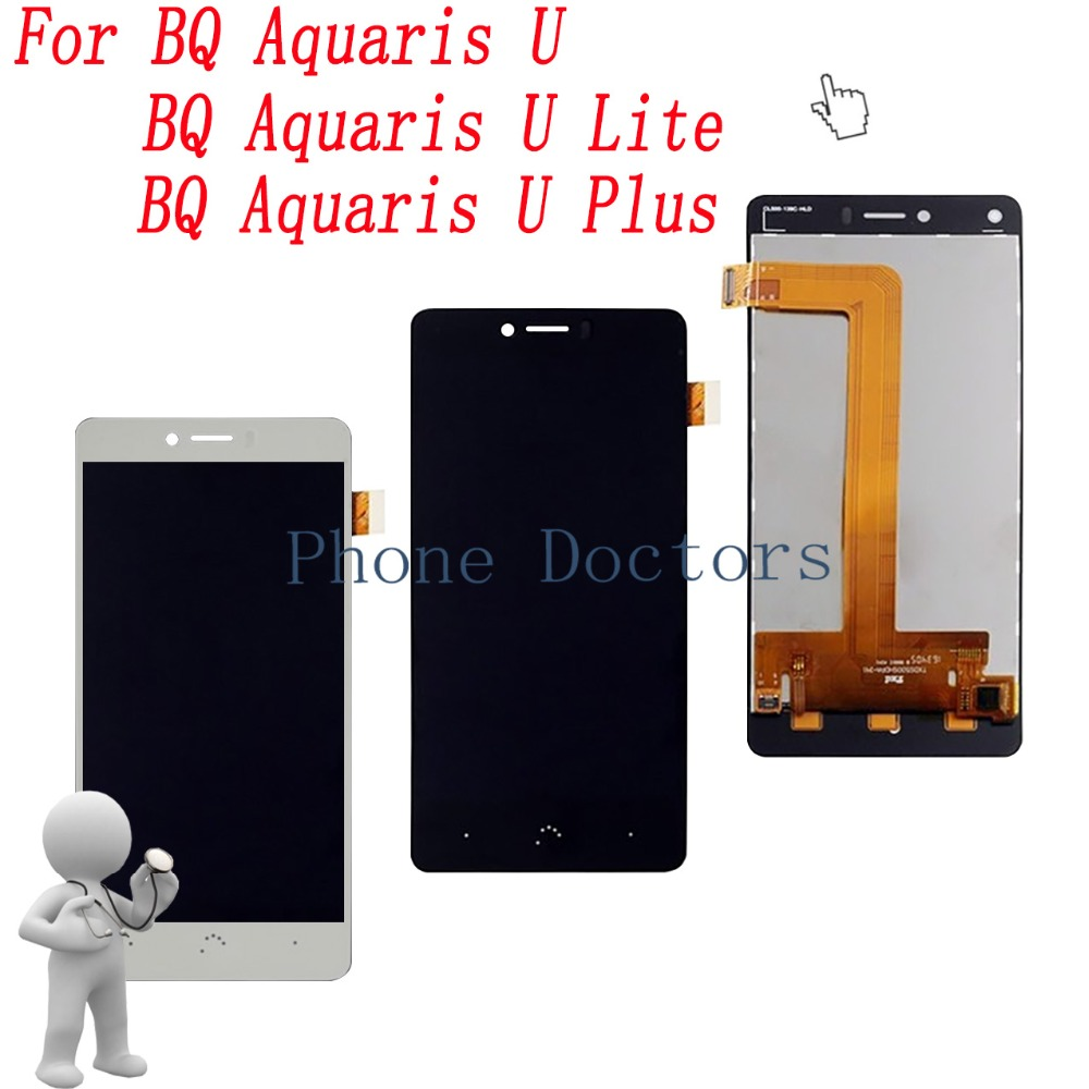 5.0 ''DIsplay LCD Completa + Touch Screen Digitador Assembléia Para BQ Aquaris U/Aquaris U Lite/Aquaris U Plus; nova; 100% Testado