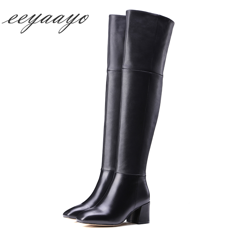 2019 New Genuine Leather Women Over-The-Knee Boots High Heels Square Toe Zip Sexy Ladies Thigh High Boots Black Women Shoes hot boots women sexy black thigh high boots peep toe soft leather back zip high heels over the knee boots gladiator sandal boots