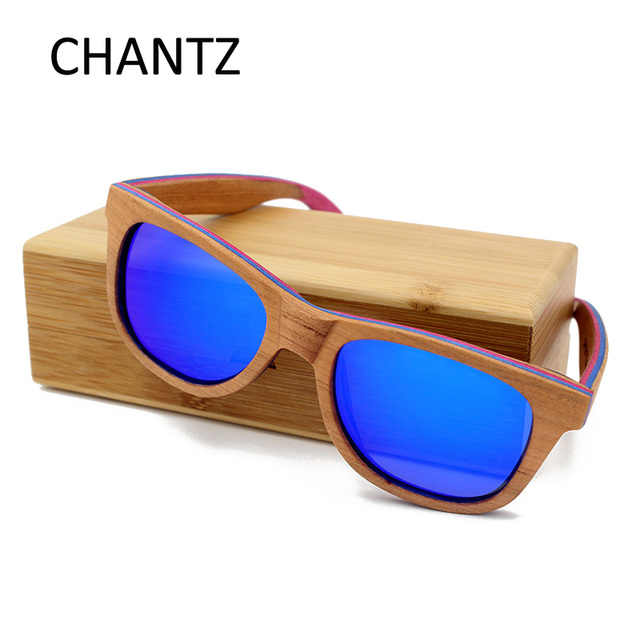 c8b6677b45 Skateboard Wood Sunglasses Women Men Brand Designer Brown Frame 5 Colors Polarized  Glasses with Metal Spring