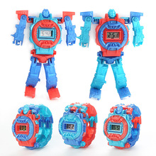 Children's Watch Deformation Robot Assembled Building Blocks King Kong Creative Puzzle Child Electronic Toys Reloj Relogio