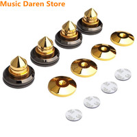 4 sets Gold Speaker Spikes Subwoofer Spikes Isolation CD Amplifier Turntable Pad Stand Feet