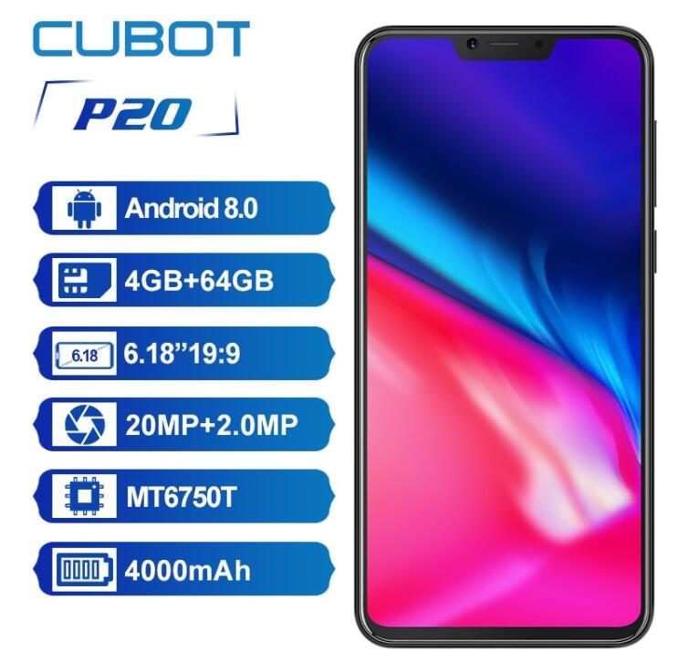 "Original Cubot P20 6.18""FHD+ 19:9 Full Screen MTK6750T Octa Core 4GB RAM 64GB Android 8 20MP+2MP Dual Real Camera 4G SmartPhone"