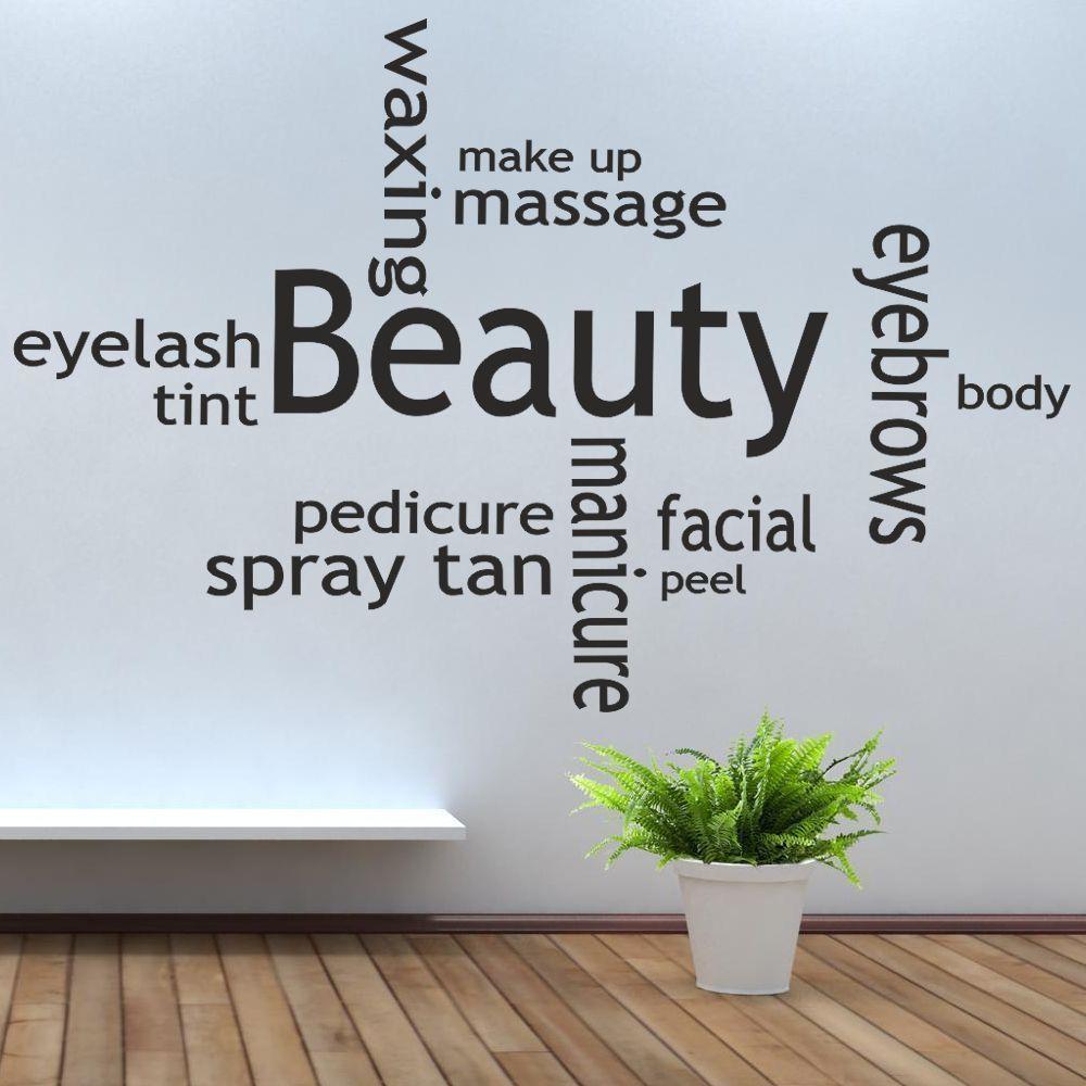belleza de la moda collage pared del vinilo de saln de uas de bronceado mit masaje