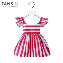 Fansin Brand Summer Girl Dresses Striped Bow Baby Clothing Children Princess Cotton Girls Clothes For Party Birthday Wedding