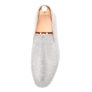 Image 3 - Piergitar brand 2019 Luxurious Handmade Sliver Diamond Men Shoes Wedding and Party Men Loafers red bottom Smoking Slippers