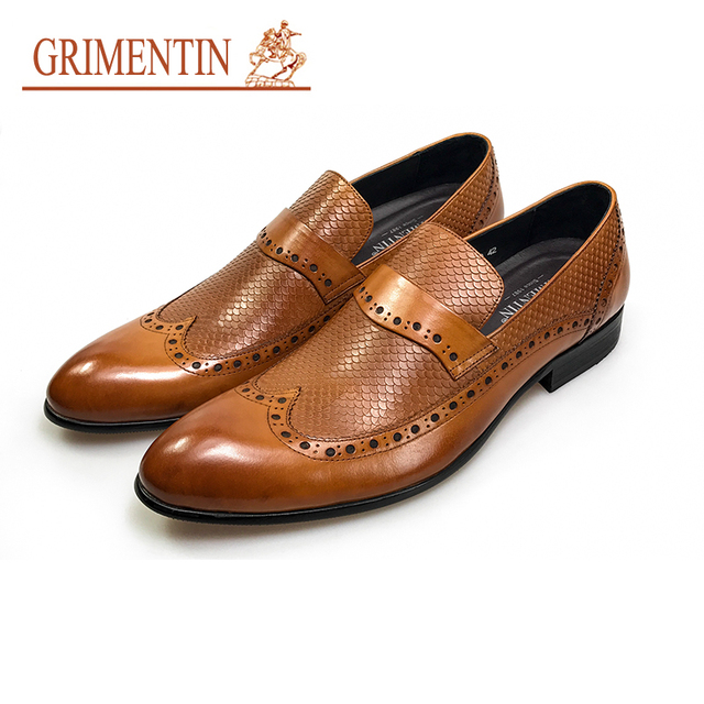 GRIMENTIN fashion pria sepatu slip pada orange kulit asli sepatu formal  bisnis laki-laki 1769ff3e82