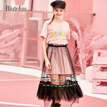 2019 New arrival spring and summer womens suit long t-shirt+fashion gauze skirts two pieces