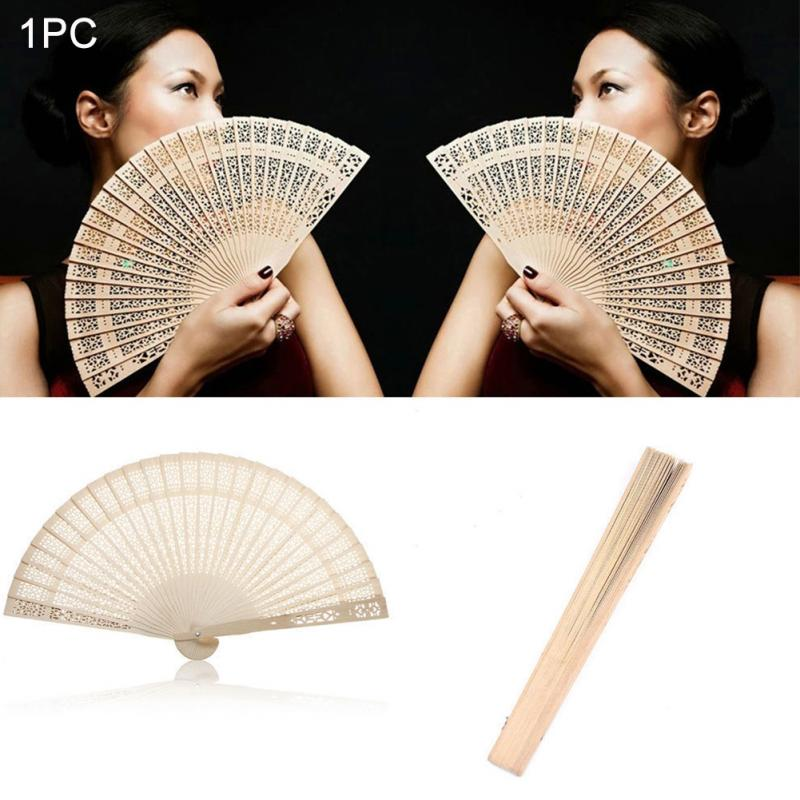 20*34cm Chinese Folding Hand Held Fan Original Wooden Hand Flower Bamboo Pocket Fan Home Deco Fiestas Gift