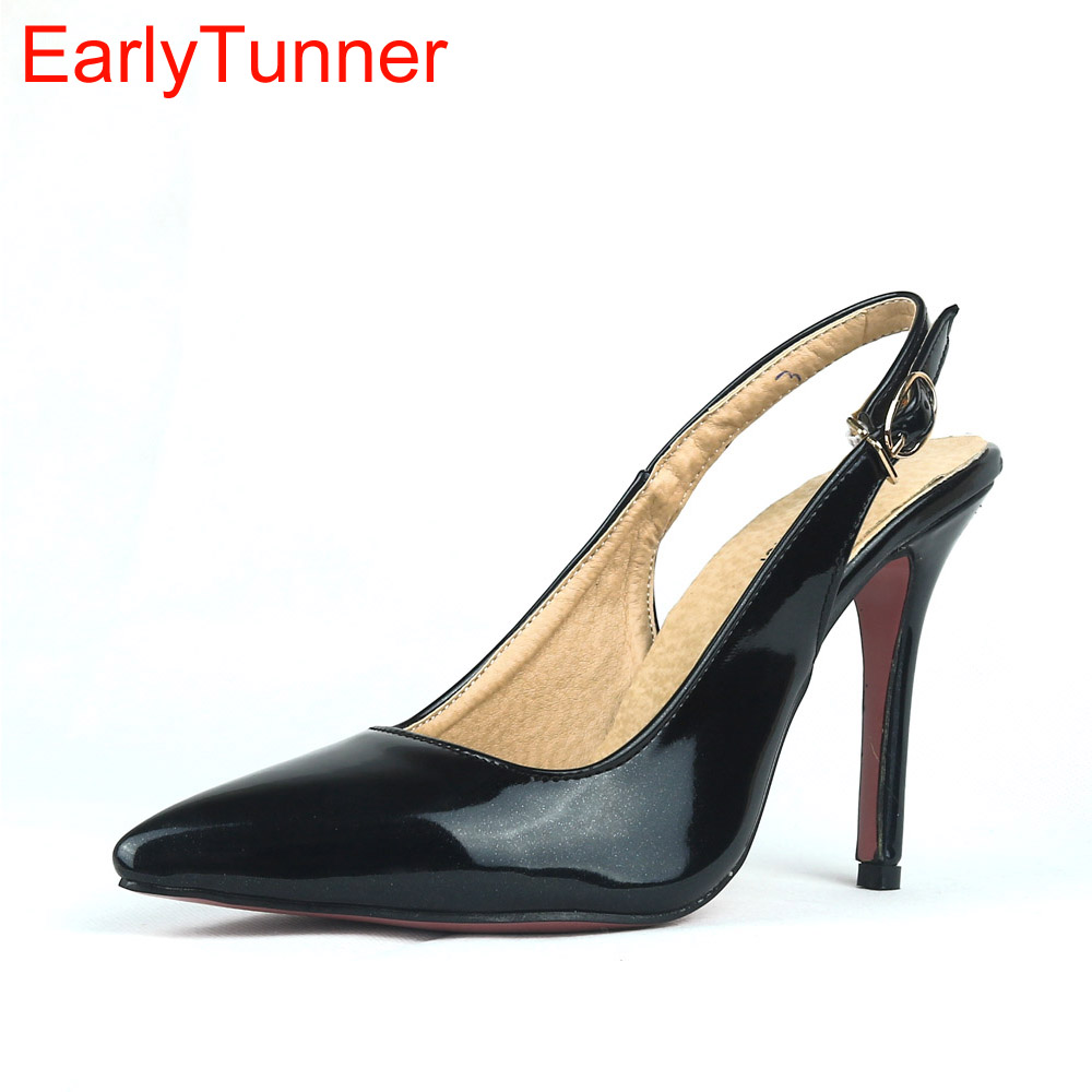 2017 Brand New Sexy Glossy Black Red Women Nude Sandals Purple Pink High Heel Lady Party Dress Shoes EM20 Plus Big Size 12 31 47 inc new purple pink paisley printed women s size small s tank cami top $59