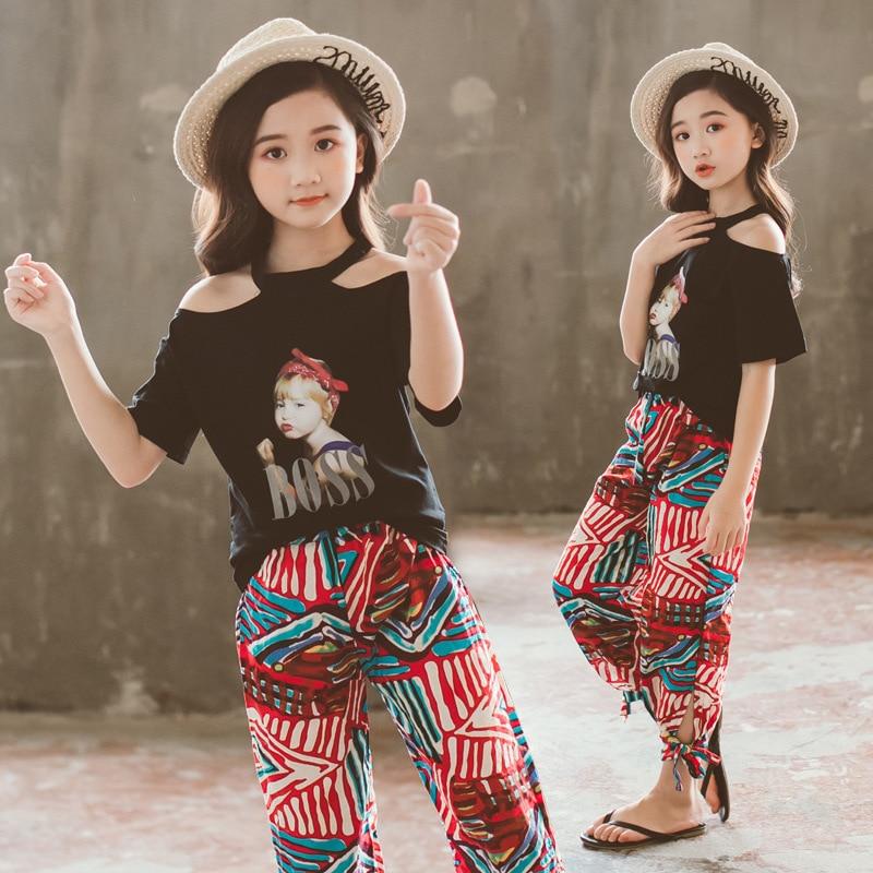 Tween Girl Fashion Black: Teenage Girls Clothing Set Kids Tracksuit Girls Summer