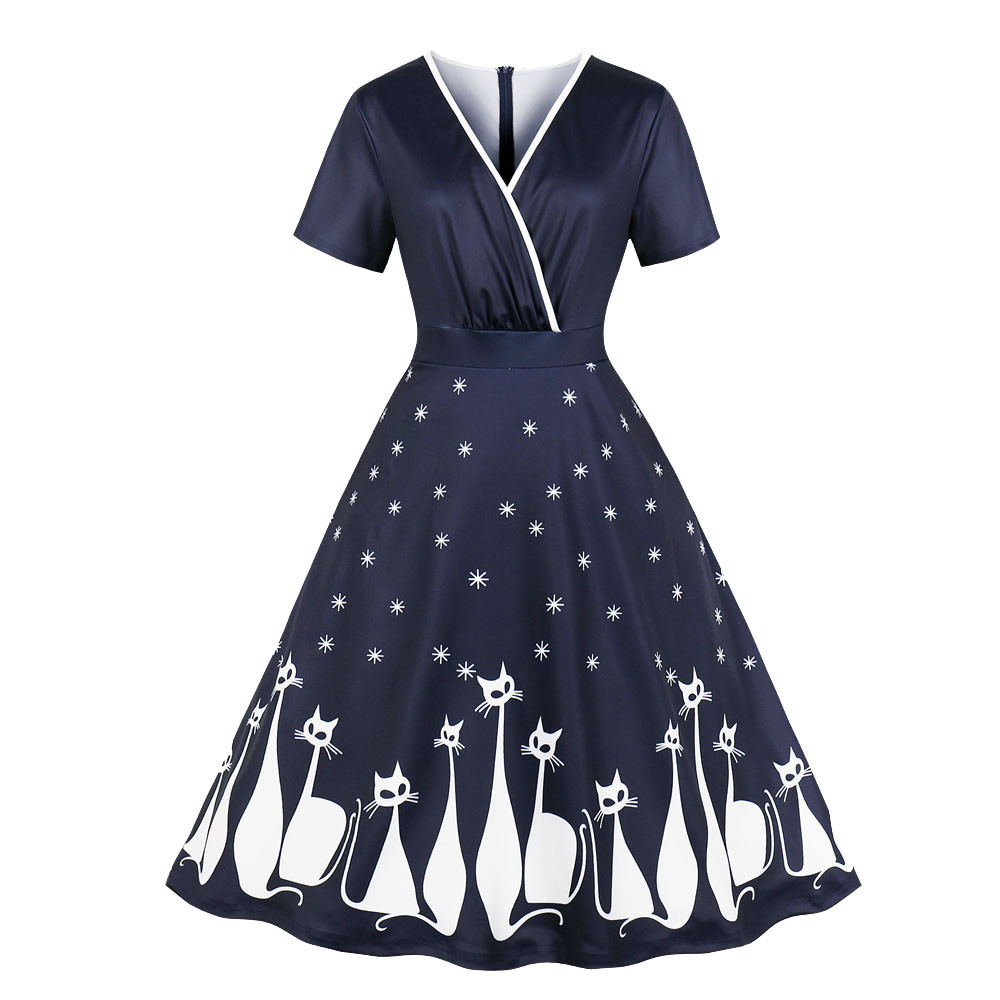 45b60d9cb95 Women Large Size Vintage Cat Printing...  32.55 In Stock. In Stock. Gamiss  Trendy Brand Plus Size Merry Christmas Party Lace Panel Vintage Dress  Masquerade ...