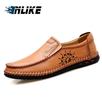 INLIKE Mens Summer Shoes Casual Genuine Leather Italian Fashion Loafers Boat Shoes For Men Breathable Footwear Male Doug Shoes
