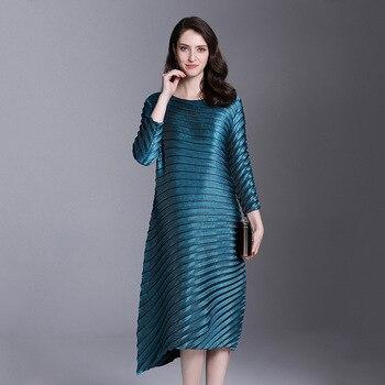 LANMREM 2019 spring New Fashion Pleats Three Quarter Sleeve Irregular Dress Female's Loose Elastic Women Clothing Vestido YE852 4