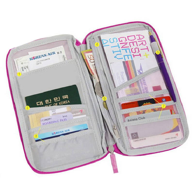 Multifunctional Women Men Travel Wallet Card Holder Bag Passport Holder Travel Purse Passport Case