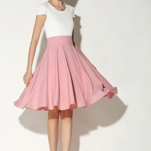 cda6ee6dcf KASY mujeres de primavera Rosa cintura alta Midi Skater falda elegante  falda de la longitud de
