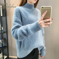 Ordifree 2018 Autumn Winter Women Sweaters Knitted Pullover Christmas Jumper Loose Casual Blue White Warm Turtleneck Sweater