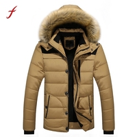 2017 New Men Warm jackets Winter Thick Jacket Plus Fur Hooded Coat Jacket Outerwear Plus Size M- 3XL Casual Long
