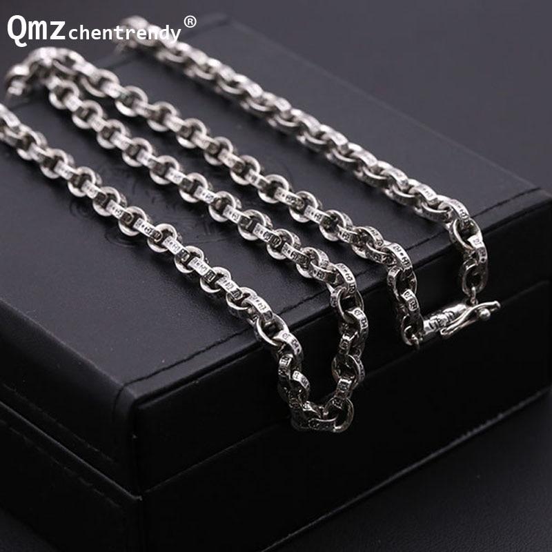 S925 Sterling Silver Retro Thai Silver Men Dragon Clasp Box Chain Clavicle Necklace Wholesale 925 Pure Silver Box Necklace