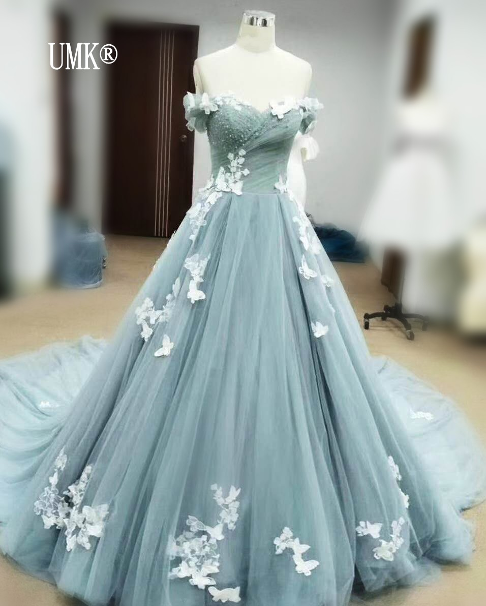 UMK Real Picture Butterfly Lace Wedding Dress 2019 Vintage