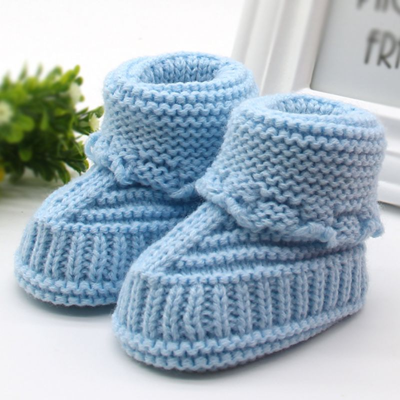 Handmade Newborn Baby Crib Shoes Infant Boys Girls Crochet Knit winter warm Booties Baby Shoes First Walkers Infant