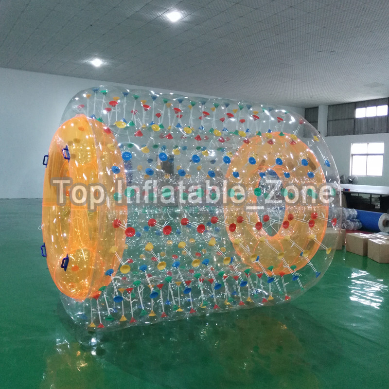Free Shipping Inflatable Water Roller Ball Customized Size And Color Inflatable Beach Roller Zorb Ball Wheel For Amusement Park