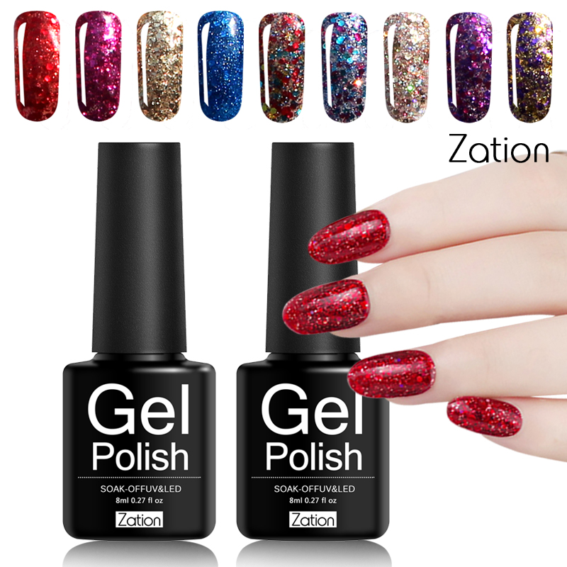 Zation Diamond Star Moon Sequins Gel Varnish