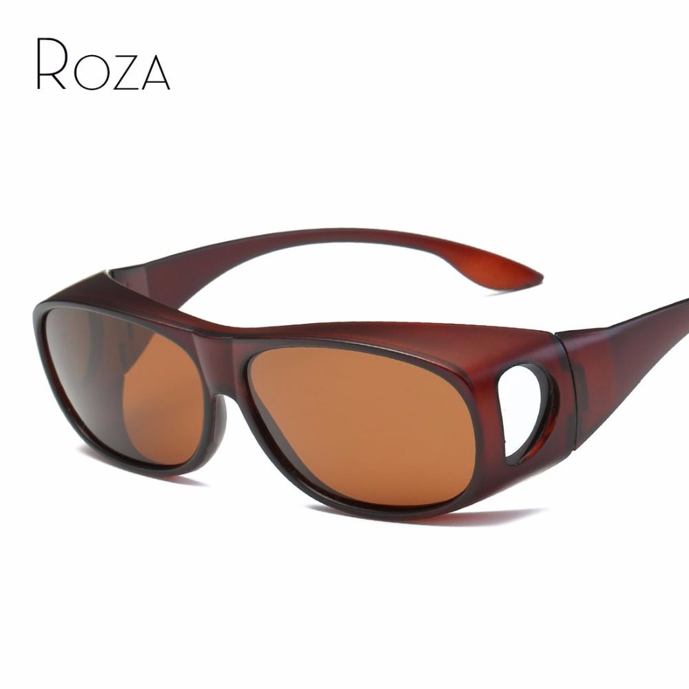 41de061642c52 ROZA Polarisées lunettes de Soleil Hommes Suncover Myopie Sur-La-Verre de  Sécurité Lunettes Rétro Unisexe Lunettes de Soleil UV400 QC0509