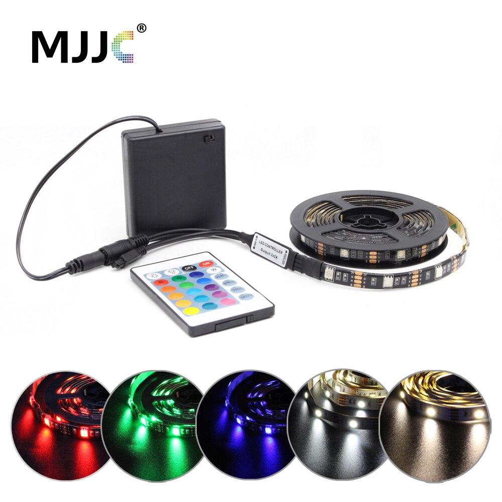 Bande de LED de batterie RGB 5 V SMD 5050 2538 étanche Tira LED IR RF télécommande à piles alimenté bande de LED