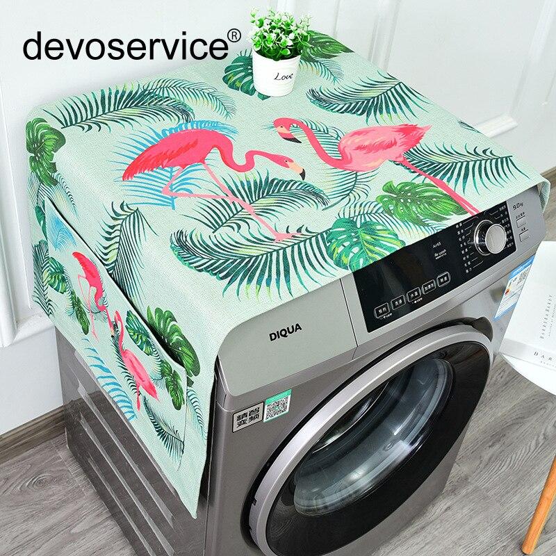 Mits Fashion Flamingo Serie Woondecoratie Koelkast Cover Lattice Katoen Linnen Wasmachine Deksel Handdoek Nachtkastje Goed Verkopen Over De Hele Wereld