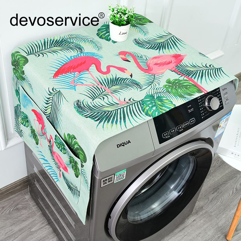 Honest Fashion Flamingo Series Home Decoration Refrigerator Cover Lattice Cotton Linen Washing Machine Cover Towel Bedside Cabinet Fixing Prices According To Quality Of Products Greeting Cards & Party Supply