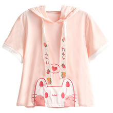 Lolita Lovely Cat Ears T-shirt Women Kawaii Strawberry Funny 90s Girl Tees Female Tops Cute Heart Anime Graphic Pink T Shirts
