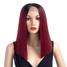 Aigemei Straight Synthetic Hair Lace Front And T Part Wig 16 Inch Wigs Red Ombre Wig Colors Choice Cosplay Wig(China)