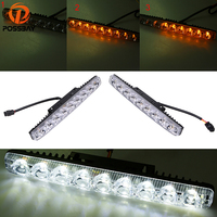 POSSBAY Car Styling White Yellow LED DRL Daytime Running Lights 6 9 LEDs Driving Lamps Auto