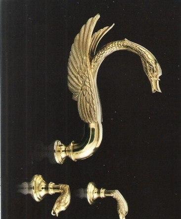 Бесплатная доставка 3 шт. Золотое вакуумное напыление отделка латунь лебедь настенный кран Лебедь смеситель для душа