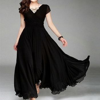 Women Long Bohemian Maxi Dress Short Sleeve Fit And Flare Party Ankle Length Dress Ladies Female V Neck Beach Dress Vestidos 3XL 1