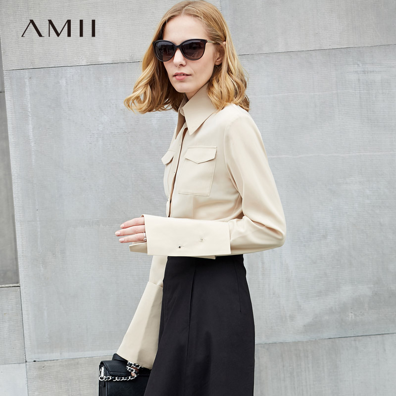 Amii Minimalist Women 2018 Spring Office Lady Blouse Solid Patch Sleeve Turn-down Collar Female Blouses Shirts