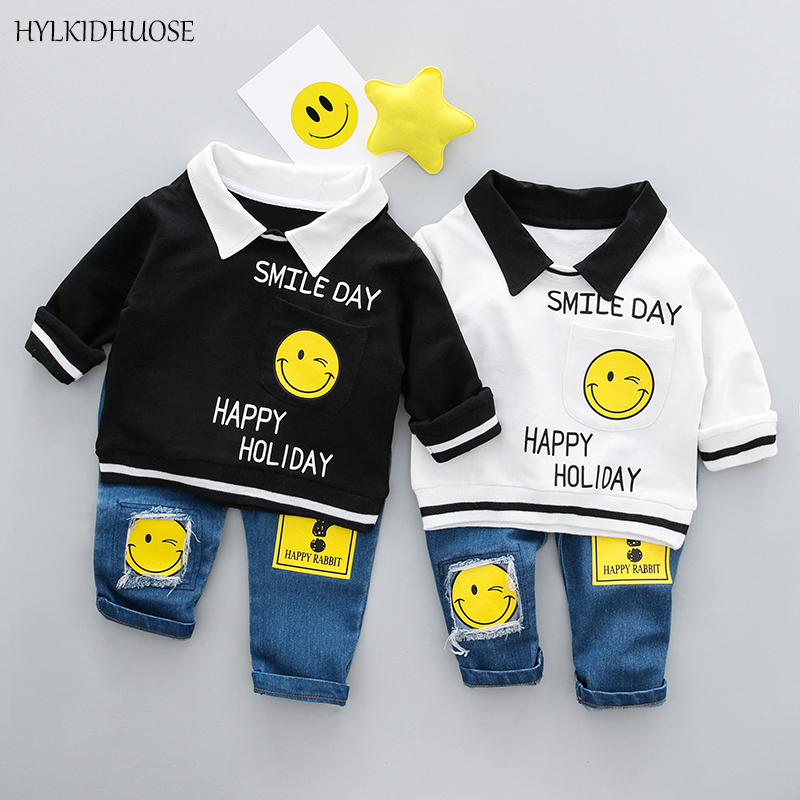 HYLKIDHUOSE 2018 Spring Children Clothes Sets Baby Girls Boys Suits Smiley Lapel Cotton T Shirt+Jeans Infant Kids Casual Suits