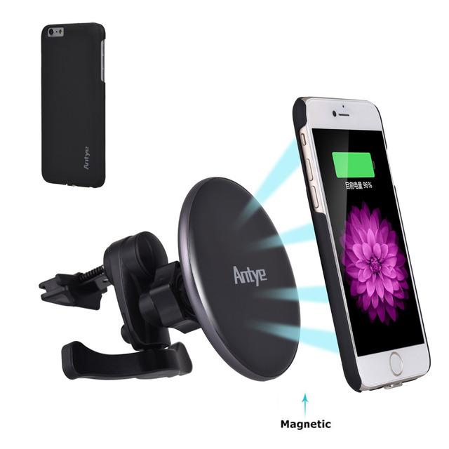 360 Rotación Magnética Nueva Qi Carga Inalámbrica Cargador de Coche Salida de Aire Del Sostenedor Del Soporte para iPhone6/6 S/6 Plus/6 S Plus y Otros Qi Teléfono
