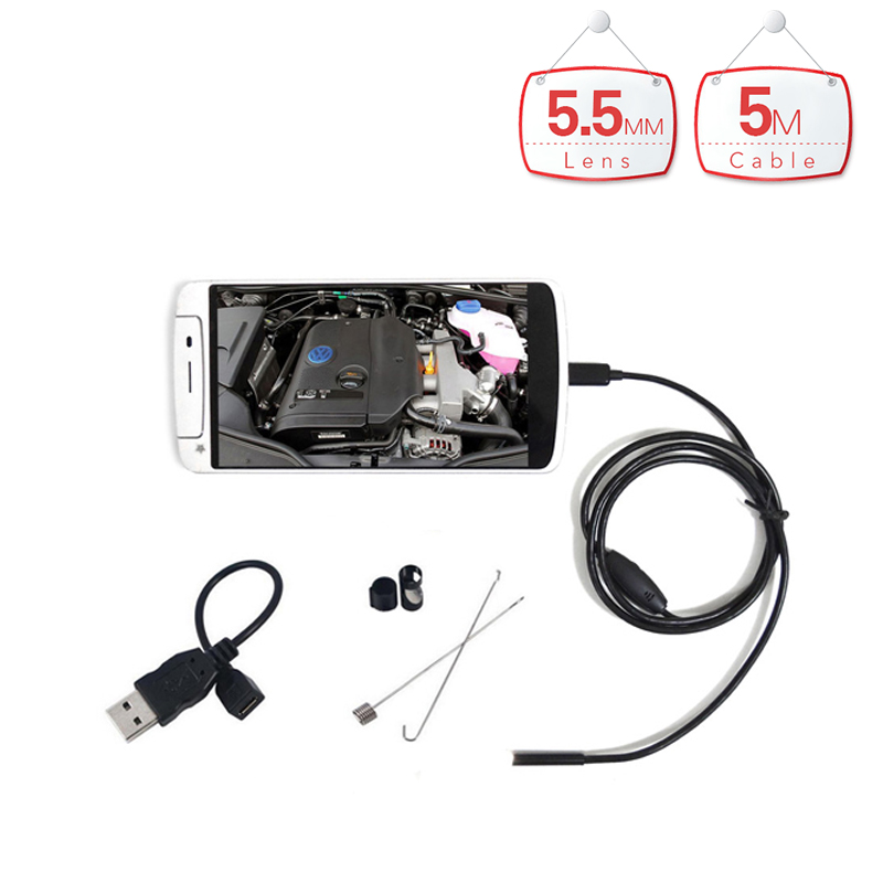 Micro HD 7mm Lens Waterproof Android Endoscope 5m Hard Cable USB Endoscope Camera Inspection Borescope Car Endoscope 7mm lens mini usb android endoscope camera waterproof snake tube 2m inspection micro usb borescope android phone endoskop camera